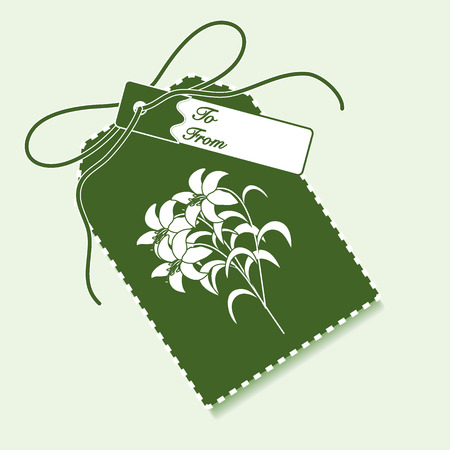 Gift tag with branch of lilies and ribbon. Sale and shopping concept. Design for postcard, banner, poster or print.