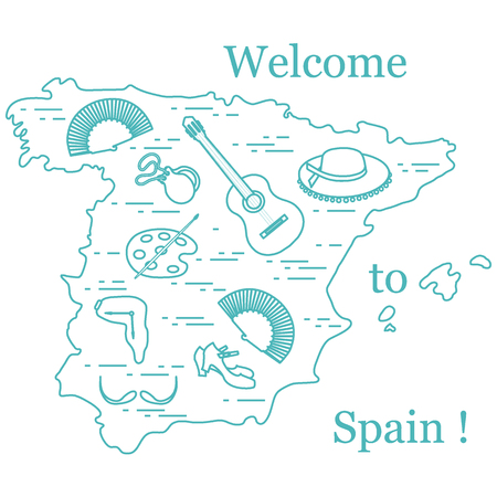 Vector illustration with various symbols of Spain arranged in a circle. Travel and leisure. Design for banner, poster or print. Иллюстрация