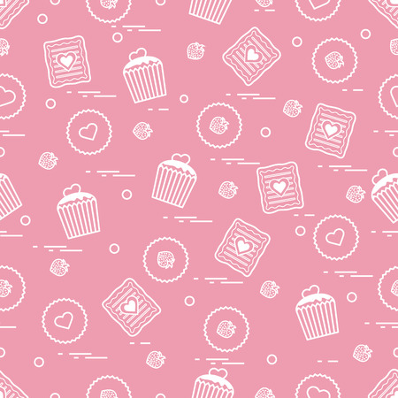Cute seamless pattern with different romantic sweets. Love concept. Design for banner, flyer, poster or print.