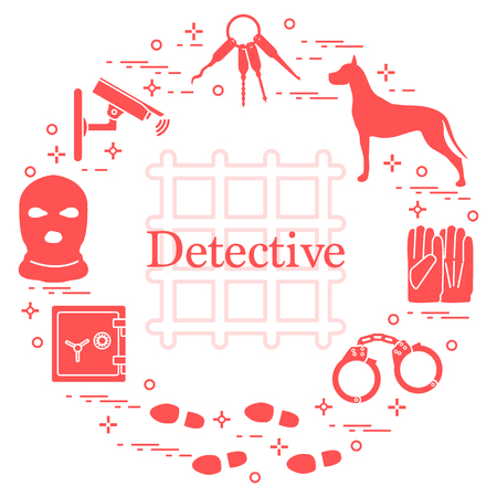 Criminele en detective-elementen; Misdaad, recht en rechtvaardigheid vectorpictogrammen in gekleurde silhouetillustratie; Ontwerp voor aankondiging, afdrukken. Stockfoto - 91509352