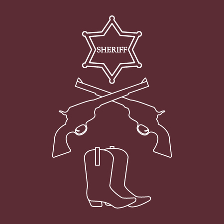 Illustration of sheriff star, revolvers Colt and cowboy boots in linear art style illustration;. Wild West collection; Cowboy stuff.