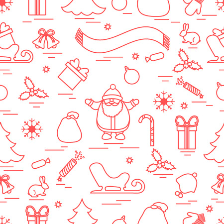 Winter seamless pattern with variety Christmas elements: tree, balls, petard, scarf, Santa Claus, bell, gifts and other; Design for banner, poster or print.