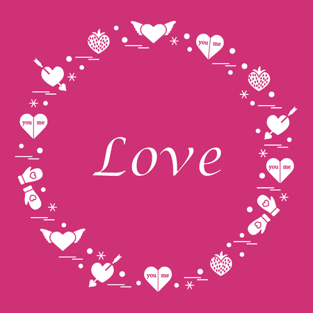 Cute vector illustration with different romantic symbols arranged in a circle. Design for banner, flyer, poster or print.