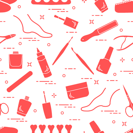 Pattern of manicure and pedicure tools and products for beauty and care. Design for banner, poster or print. Stock Illustratie