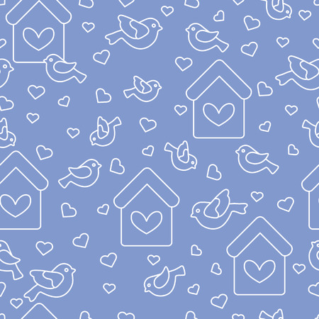 Cute seamless pattern with birds, birdhouses and hearts. Template for design, fabric, print. Greeting card Valentine's Day.