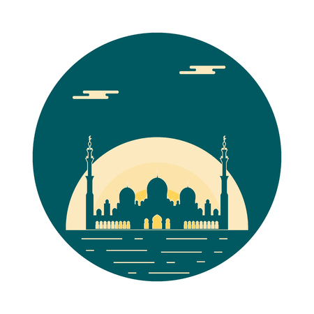 United Arab Emirates. Sheikh Zayed Mosque silhouette. Abu dhabi. Design for banner, poster or print.