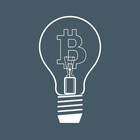 Light bulb with bitcoin. Blockchain network concept.