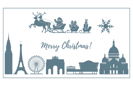 Santa Claus with Christmas presents in sleigh with reindeers over famous buildings and constructions of different countries. New Year and Christmas greeting card. 向量圖像