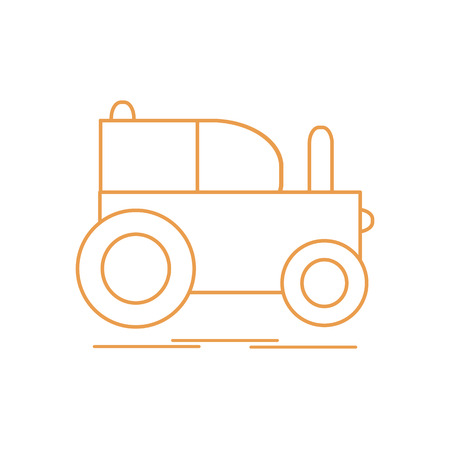 Childrens toy: tractor. Design for poster or print. Vector illustration.