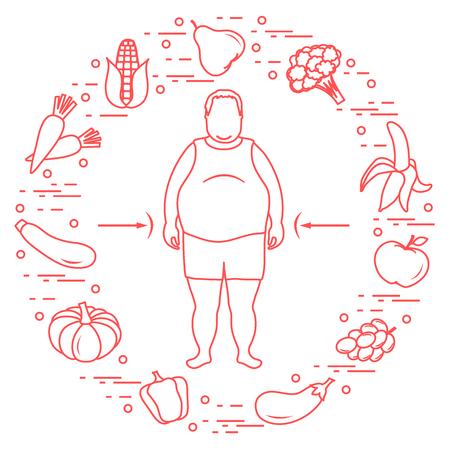 Dicker Mann mit gesunden Speisen um ihn herum . Gesundes Essen . Design für Banner und Druck Standard-Bild - 91757664