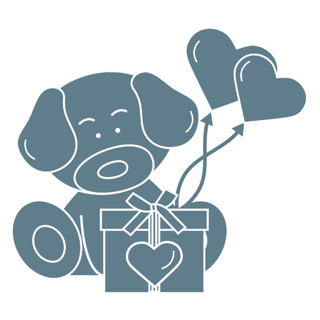 Cute puppy with gift, hearts and balloons. Greeting card Valentines Day. Design for banner, poster or print. Illustration