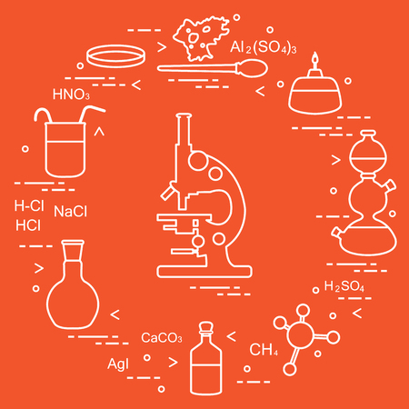 Chemistry scientific, education elements: microscope, Petri dish, dropper, flasks, camera Kippa, formulas, beaker, burner, amoeba. Design for banner, poster or print. Vettoriali