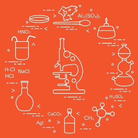 Chemistry scientific, education elements: microscope, Petri dish, dropper, flasks, camera Kippa, formulas, beaker, burner, amoeba. Design for banner, poster or print. Vectores