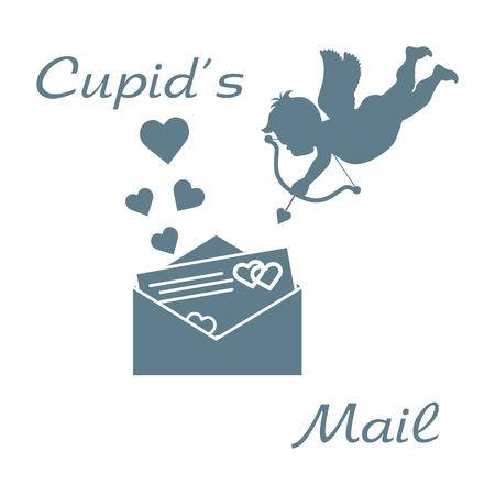 Cupid shoots a bow and envelope with Valentine's card and hearts. Love symbol. Design for banner, poster or print.