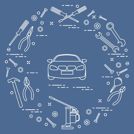 修理車:自動車、レンチ、ネジ、キー、ペンチ、ジャック、ハンマー、ドライバー。お知らせ、広告、バナー、印刷用のデザイン。 写真素材 - 91757287