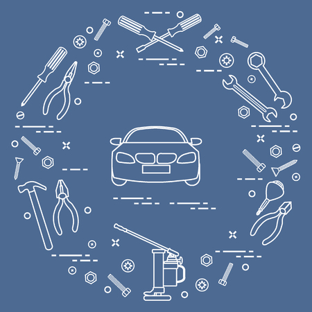 Repair cars: automobile, wrenches, screws, key, pliers, jack, hammer, screwdriver. Design for announcement, advertisement, banner or print. Иллюстрация