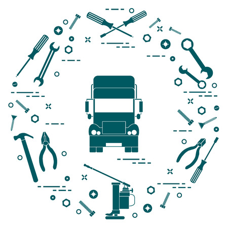 Repair cars: truck, wrenches, screws, key, pliers, jack, hammer, screwdriver. Design for announcement, advertisement, banner or print. Stock Vector - 91757317