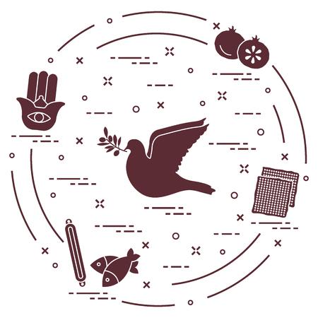Jewish symbols: dove, olive branch, pomegranate, matzah, fish, hamsa, mezuzah. Design for postcard, banner, poster or print. Ilustracja