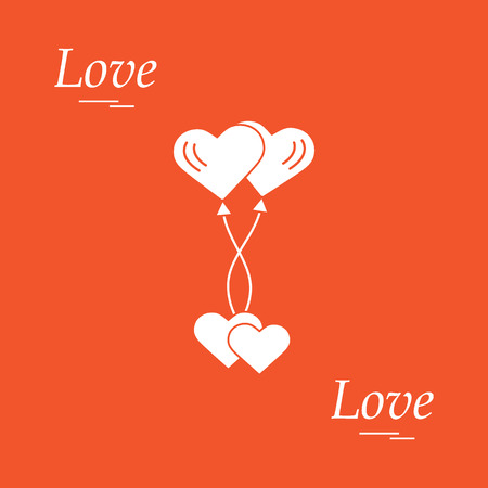 Cute Vector Illustration Of Love Symbols Heart Air Balloons