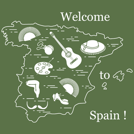 Vector illustration with various symbols of Spain arranged in a circle. Travel and leisure. Design for banner, poster or print. Illusztráció