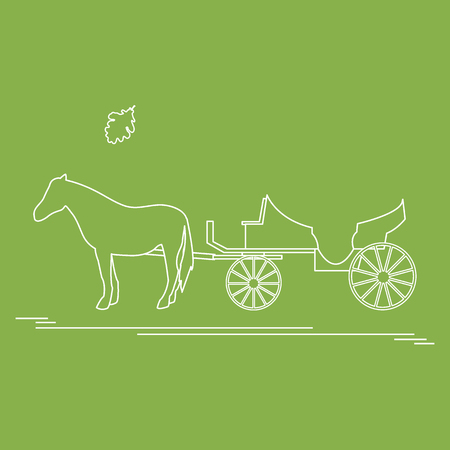 Vector illustration with horse-drawn carriage and oak leaf. Travel and leisure. Design for banner, poster or print. Illustration