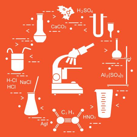 Chemistry scientific, education elements: microscope, flasks, tripod, formulas, beaker, amoeba, measuring cup, funnel, U-shaped tube. Design for banner, poster or print. Illustration