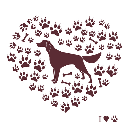 Setter silhouette on background of dog tracks and bones in the form of heart. Design element for postcard, banner, poster or print. Illustration