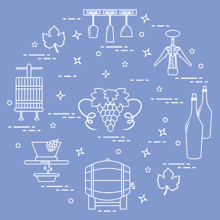 Winemaking: the production and storage of wine. Culture of drinking wine. Design for announcement, advertisement, print. Illusztráció