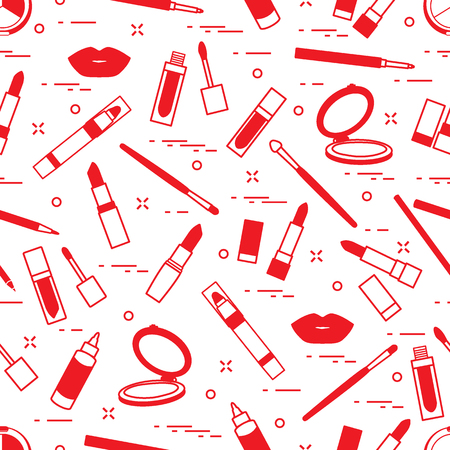 Pattern of different lip make-up tools.