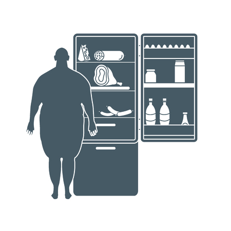 Fat man stands at the fridge full of food.