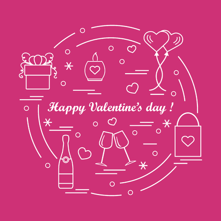Cute illustration of gifts, balloons, stemware, candle, bag, bottle with hearts and snowflakes arranged in a circle.