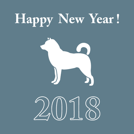 Shiba Inu silhouette and inscription happy new year.