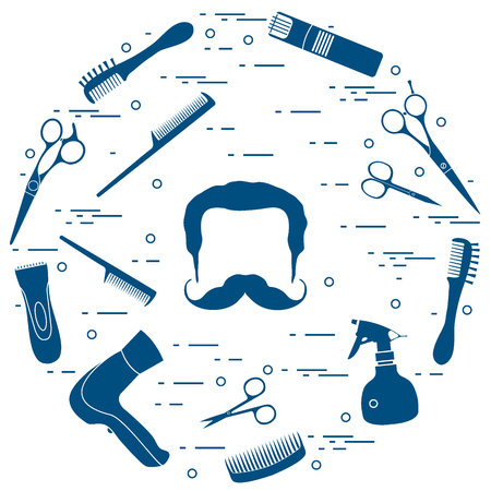 Illustration of men hairstyles, beards and mustaches, hairdresser tools care.