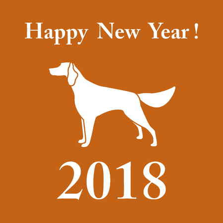 Setter silhouette and inscription happy new year.