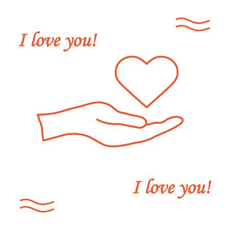 Illustration hand holds heart. Illustration