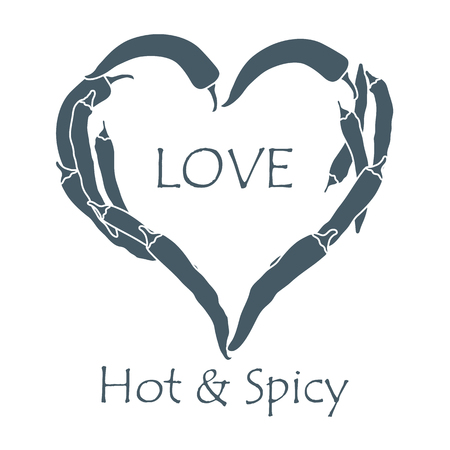 Heart of hot chili peppers. Stock Illustratie