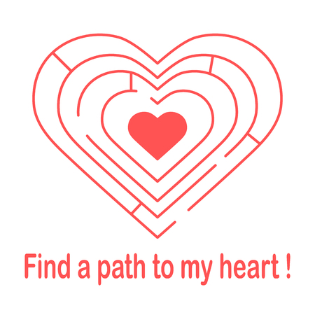 Labyrinth to the heart and the inscription find a path to my heart. Stock Illustratie