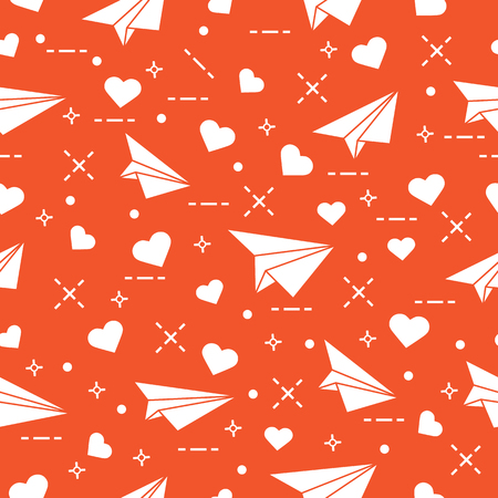 Cute pattern with paper airplane and hearts.