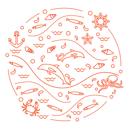 Cute illustration with dolphins, octopus, fish, anchor, helm, waves, seashells, starfish, crab arranged in a circle.