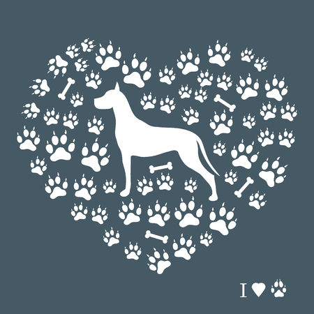 Nice picture of great Dane silhouette of dog tracks and bones in the form of heart. Illustration