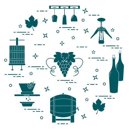 Wine making the production and storage of wine. Vektoros illusztráció