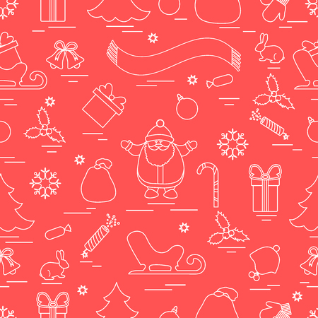 Winter pattern with variety Christmas elements. Ilustrace