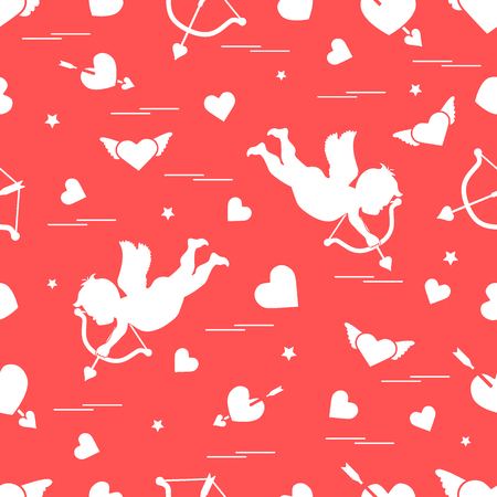 Cute pattern with cupid shoots a bow and hearts. Illustration