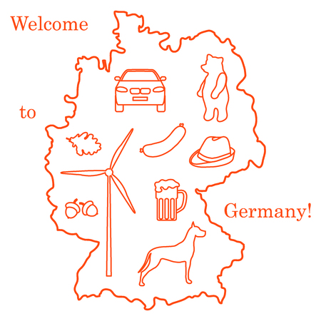 Illustration with various symbols of Germany. Illustration