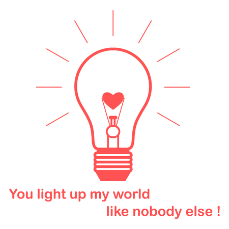 Glowing light bulb with glower in the shape of a heart and the inscription.