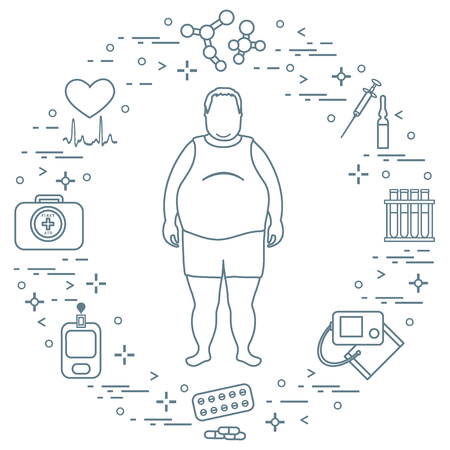 Fat man with medical devices, tools and drugs around him. Stock Illustratie