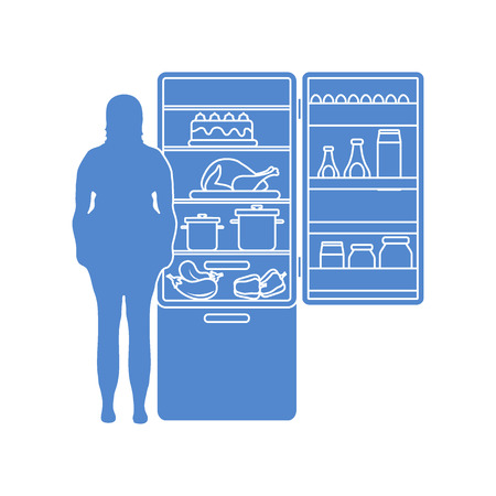 Fat woman stands at the fridge full of food. Harmful eating habits. Design for banner and print. Ilustração