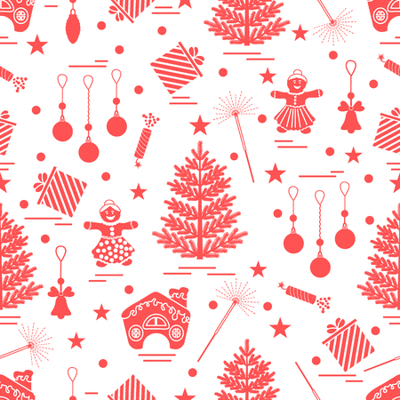 Winter seamless pattern with variety Christmas elements:  tree, balls, petard, sparkler, gingerbread man and house, bell, gifts, stars. Design for banner, flyer, poster or print.