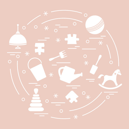 Vector illustration kids elements arranged in a circle: whirligig, ball, puzzle, rocking horse,  bucket, pyramid and other. Design element for postcard, banner, flyer, poster or print.  Vectores