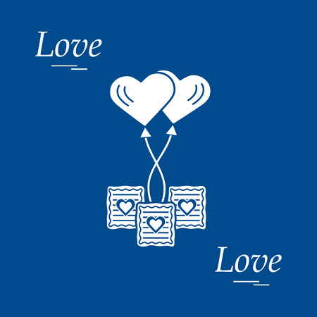 Cute vector illustration of love symbols: heart air balloon icon and three cookies. Romantic collection. Design for banner, flyer, poster or print.  Ilustrace
